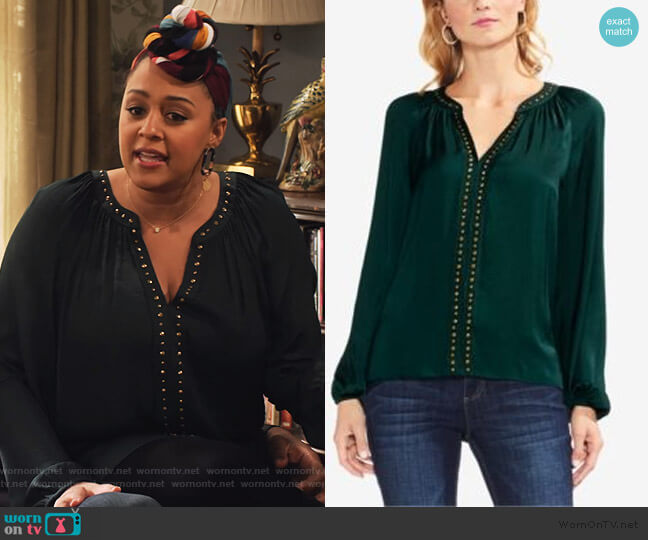 Studded Top by Vince Camuto worn by Cocoa McKellan (Tia Mowry-Hardrict) on Family Reunion