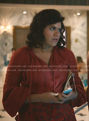 Yoli's red tie neck blouse on Grand Hotel