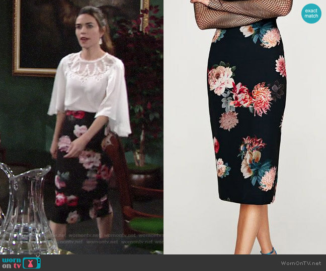 Zara Floral Pencil Skirt  worn by Victoria Newman (Amelia Heinle) on The Young & the Restless