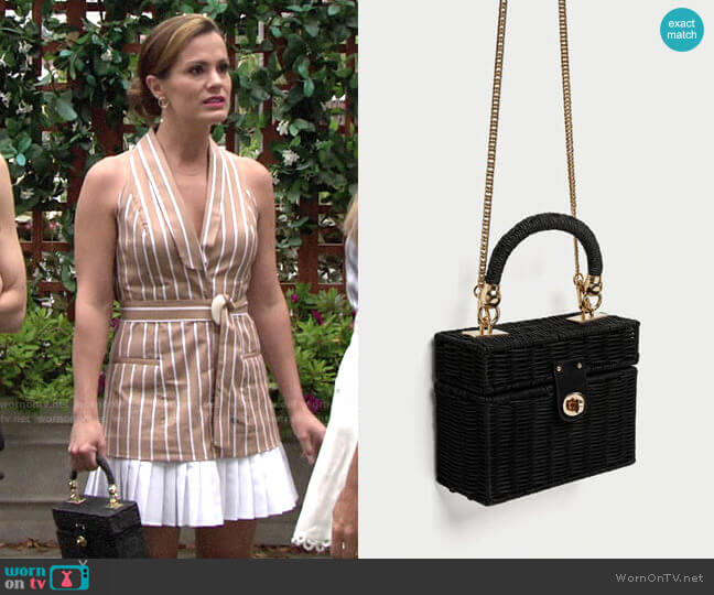 Zara Minaudiere Bag with Braided Handle worn by Chelsea Lawson (Melissa Claire Egan) on The Young & the Restless