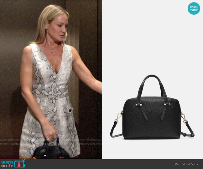 Zara Zippered Mini City Bag worn by Sharon Collins (Sharon Case) on The Young & the Restless