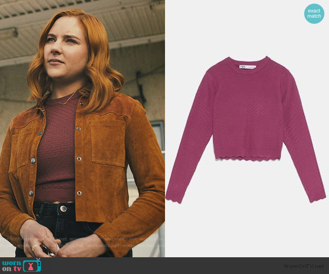 Textured Knit Sweater by Zara worn by Violet Simmons (Haley Ramm) on Light as a Feather