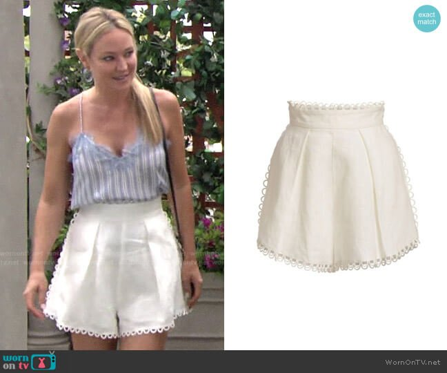 Zimmermann Allia High-Waist Linen Scallop Shorts worn by Sharon Collins (Sharon Case) on The Young & the Restless
