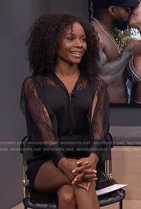 Zuri's black lace-sleeve romper on E! News