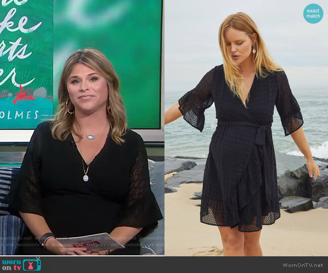 Shimla Collection Eyelet Wrap Maternity Dress by A Pea in the Pod worn by Jenna Bush Hager  on Today