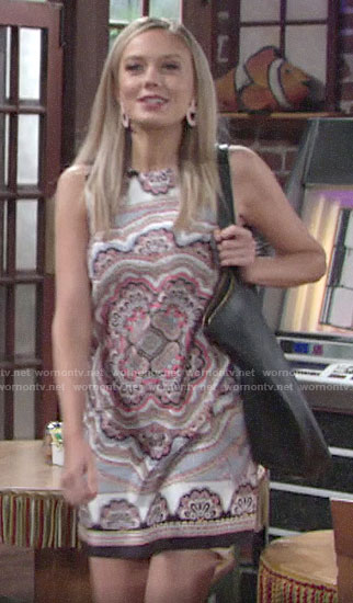 Abby's scarf print shift dress on The Young and the Restless