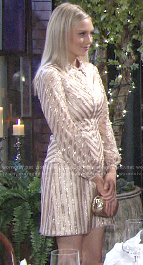 Abby's gold sequin stripe dress on The Young and the Restless