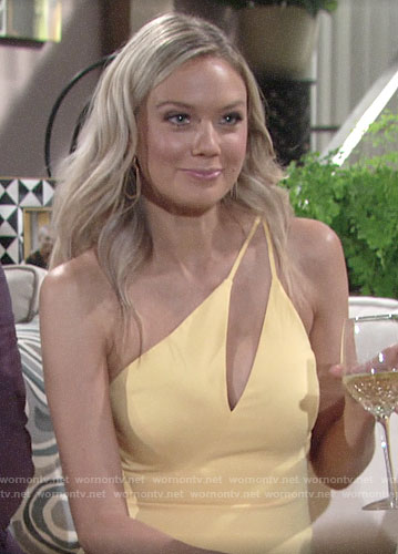 Abby's yellow one shoulder dress on The Young and the Restless