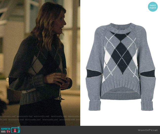Alexander McQueen Argyle Sweater worn by Renata Klein (Laura Dern) on Big Little Lies