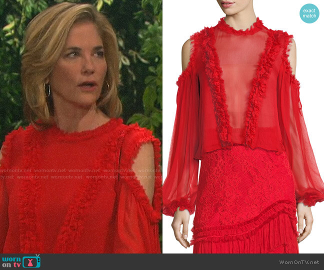 Alexis Belicia Sheer Organza Top with Ruffled-Trim worn by Eve Donovan (Kassie DePaiva) on Days of our Lives