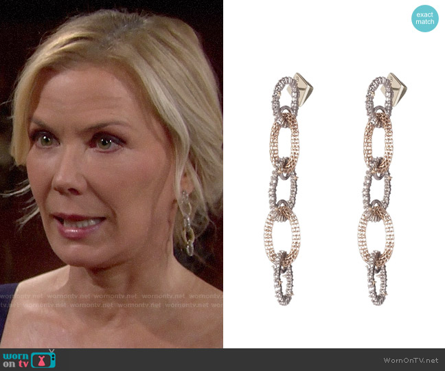 Alexis Bittar Crystal Encrusted Chain Drop Earrings worn by Brooke Logan (Katherine Kelly Lang) on The Bold & the Beautiful