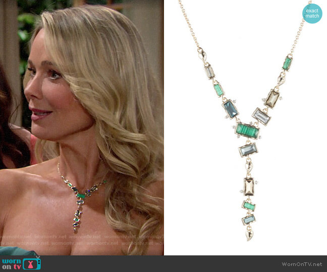 Alexis Bittar Retro Gold Collection Molten Metal Multi Stone Y-Necklace worn by Donna Logan (Jennifer Gareis) on The Bold & the Beautiful