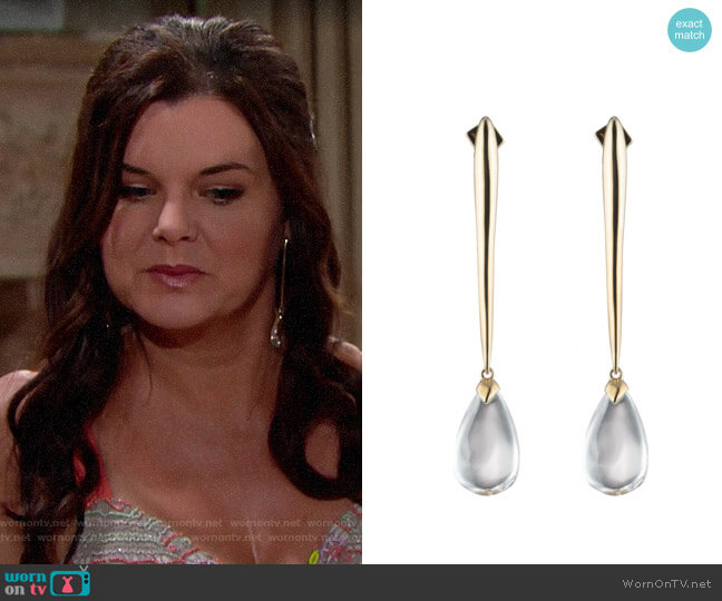 Alexis Bittar Linear Teardrop Earrings worn by Katie Logan (Heather Tom) on The Bold & the Beautiful