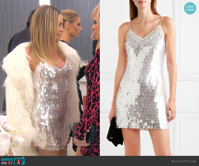 Contessa Paillette-Embellished Mini Dress by Alice + Olivia worn by Denise Richards  on The Real Housewives of Beverly Hills