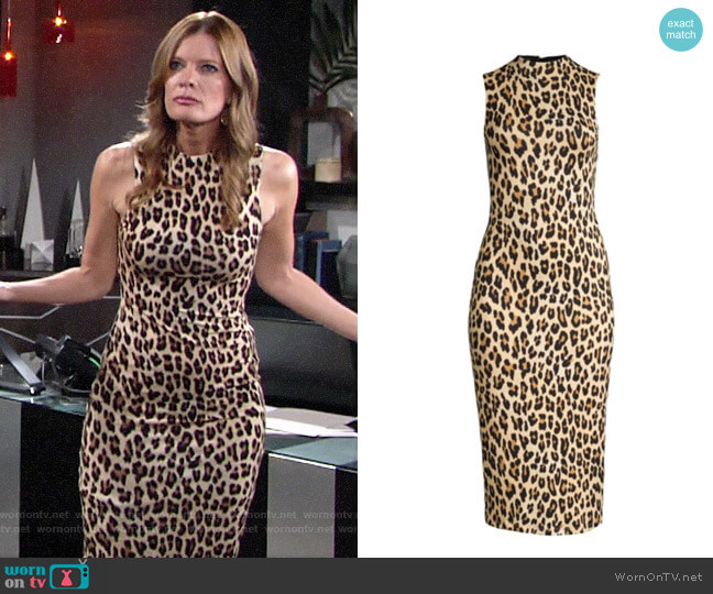 Alice + Olivia Delora Leopard Dress worn by Phyllis Summers (Michelle Stafford) on The Young & the Restless