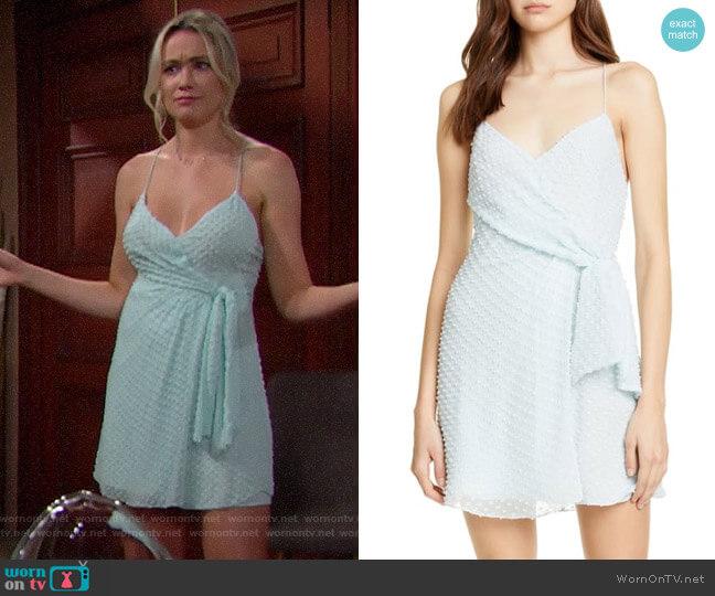 Alice + Olivia Katie Faux Wrap Minidress worn by Florence (Katrina Bowden) on The Bold & the Beautiful