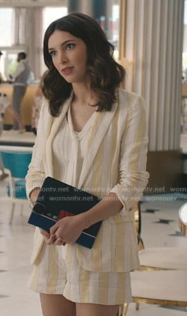 Alicia's white and yellow striped blazer and shorts on Grand Hotel