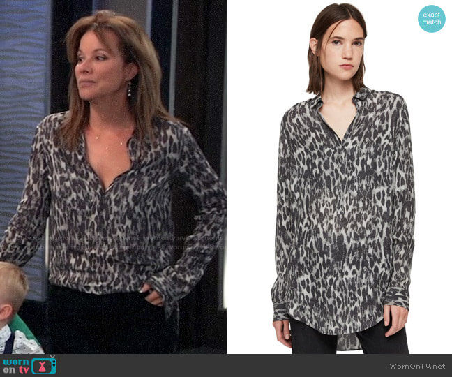 All Saints Keri Leopard Tunic Top worn by Alexis Davis (Nancy Lee Grahn) on General Hospital