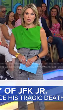 Amy's green top and grey belted pants on Good Morning America