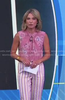 Amy's pink floral top and striped pants on Good Morning America