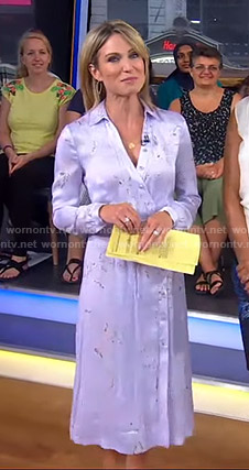 Amy's purple floral midi dress on Good Morning America