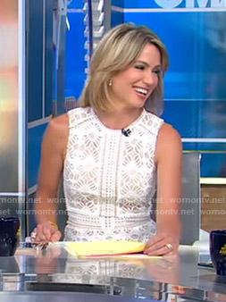 Amy's white sleeveless lace dress on Good Morning America