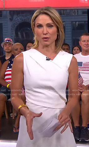 Amy's white v-neck dress on Good Morning America