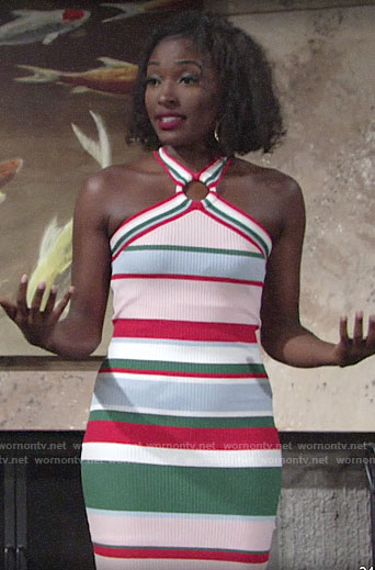 Ana's striped ring detail dress on The Young and the Restless