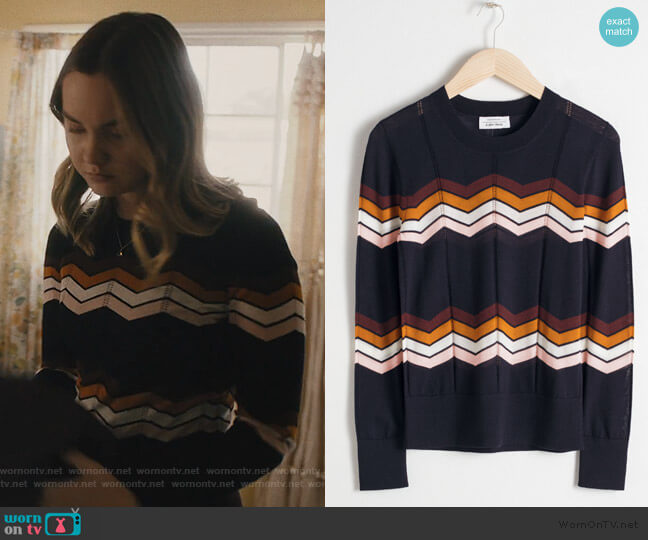 Zig Zag Merino Wool Sweater by & Other Stories worn by McKenna Brady (Liana Liberato) on Light as a Feather