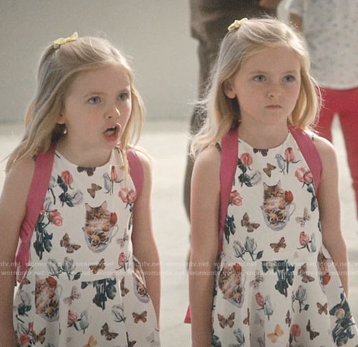Anna and Ellie's cat print dress on Jane the Virgin