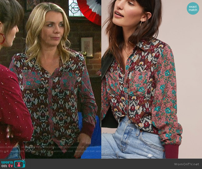 Anthropologie Olsen Floral Top worn by Carrie on Days of our Lives
