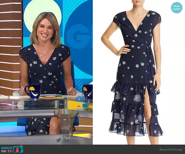 Daisy Faux-Wrap Floral-Print Midi Dress by Aqua worn by Amy Robach  on Good Morning America