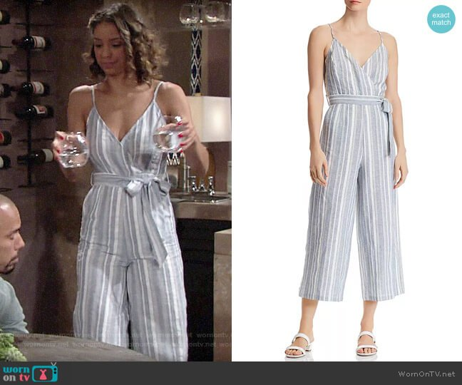 Aqua Striped Cropped Wide-Leg Jumpsuit  worn by Elena Dawson (Brytni Sarpy) on The Young & the Restless