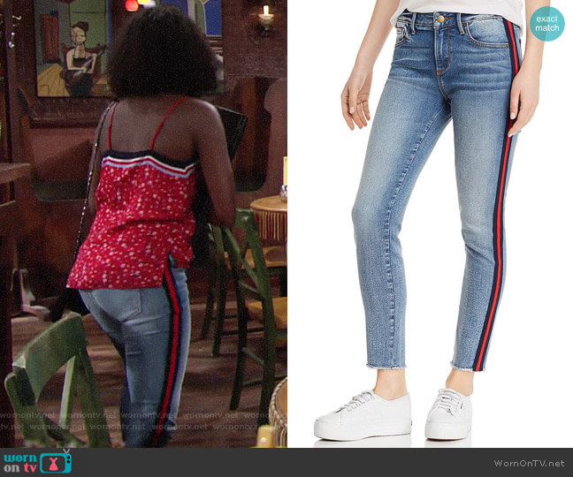Aqua Track Stripe Frayed Skinny Jeans worn by Ana Hamilton (Loren Lott) on The Young & the Restless