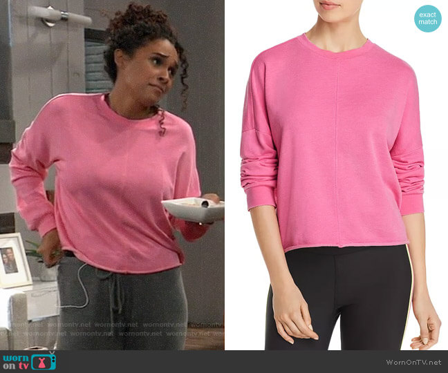 Aqua Raw-Edge Sweatshirt worn by Jordan Ashford (Briana Nicole Henry) on General Hospital