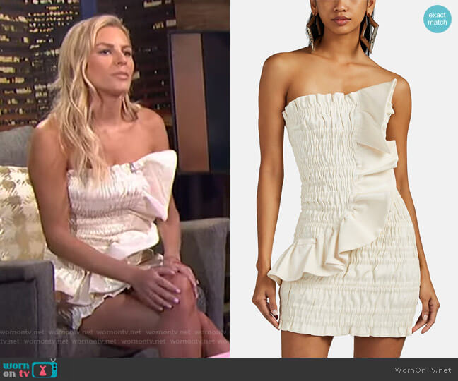 Ruched Cotton-Blend Lamé Strapless Minidress by Area worn by Morgan Stewart  on E! News