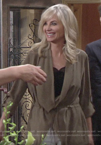 Ashley's green draped tie front jacket on The Young and the Restless