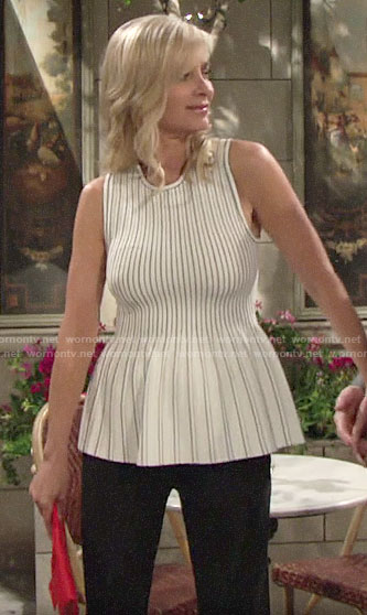 Ashley's white striped peplum top on The Young and the Restless