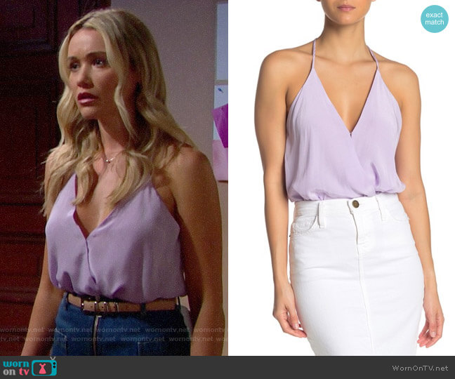 ASTR Amber Surplice V-Neck Bodysuit worn by Florence (Katrina Bowden) on The Bold & the Beautiful