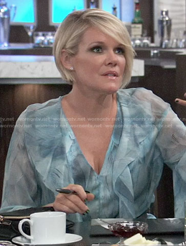 Ava's blue ruffled blouse on General Hospital
