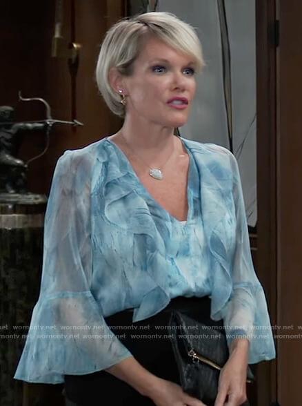 Ava's blue ruffled blouse on General Hospital