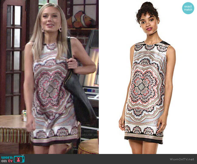 Bailey 44 Vivid Dream Paisley Scarf Print Shift Dress worn by Abby Newman (Melissa Ordway) on The Young & the Restless