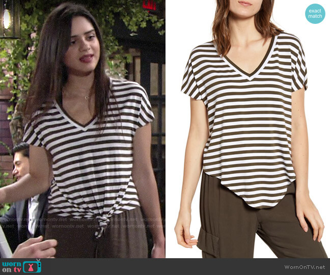 Bailey 44 Ocelot Striped Top worn by Lola Rosales (Sasha Calle) on The Young & the Restless