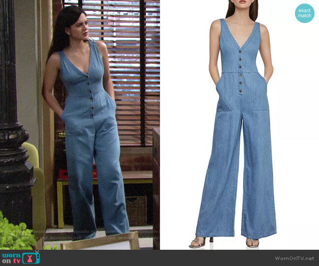 Bcbgmaxazria Button-Front Denim Jumpsuit worn by Lola Rosales (Sasha Calle) on The Young & the Restless