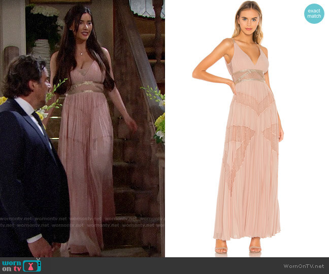 Bcbgmaxazria Eve Pleated Gown worn by Steffy Forrester (Jacqueline MacInnes Wood) on The Bold & the Beautiful
