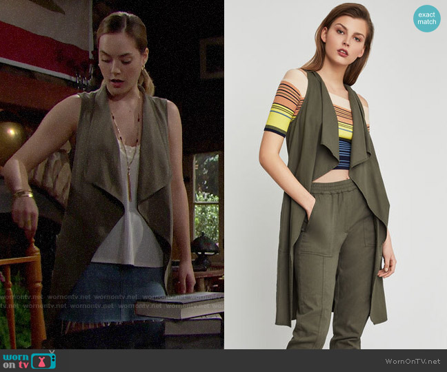 Bcbgmaxazria Paige Chambray Long Vest worn by Hope Logan (Annika Noelle) on The Bold & the Beautiful