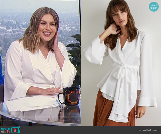 Shawl Collar Wrap Top by Bcbgmaxazria worn by Carissa Loethen Culiner  on E! News