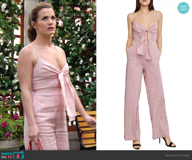 Bcbgmaxazria Striped Tie-Front Jumpsuit worn by Chelsea Lawson (Melissa Claire Egan) on The Young & the Restless