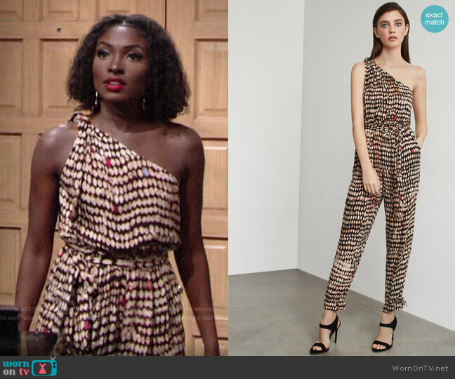 Bcbgmaxazria Sandy Dots One-Shoulder Jumpsuit worn by Ana Hamilton (Loren Lott) on The Young & the Restless