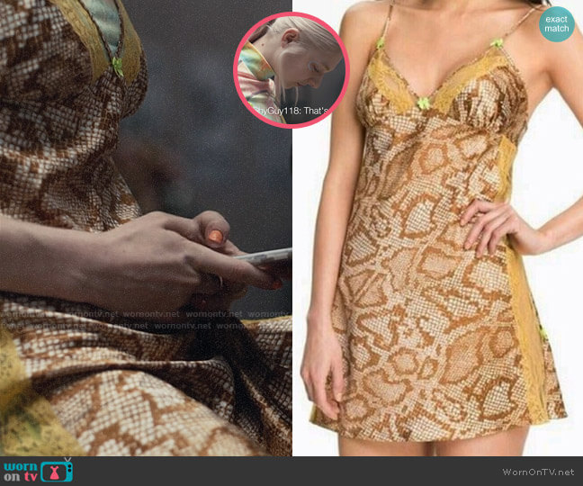 Betsey Johnson Snake Print Slip Dress worn by Jules Vaughn (Hunter Schafer) on Euphoria
